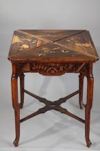 A C. Balny Japanese Style Carved Wood Games Table