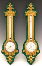 A Pair of H. Dasson Louis XVI Style Gilded Bronze and Green Velvet Barometer and Thermometer
