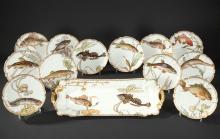A F. Bracquemond and Haviland & Co Fish Porcelain Set