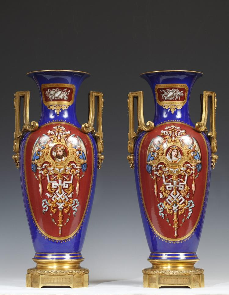A Magnificent Pair Of Ormolu Porcelain Vases Attributed To R