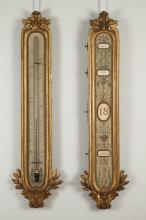 A F. Linke Gilded Wood and Metal Thermometer and Perpetual Calendar