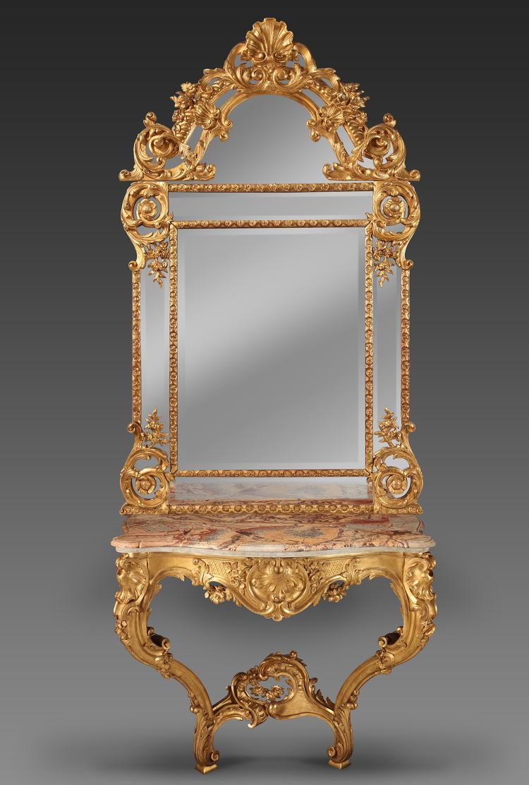A French Carved and Giltwood Louis XV Style Console Table an