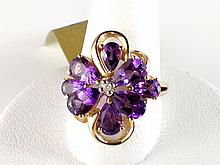 14k Yellow Gold 5.00ct Pear Amethyst and Diamond Ring
