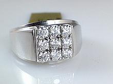 14k White Gold Men's 0.85ct Diamond Ring