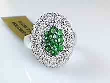 14k White Gold 0.70ct Tsavorite Garnet and Diamond Ring