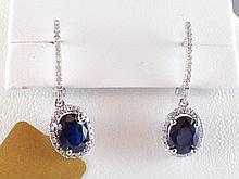 18k White Gold 2.17ct Sapphire and Diamond Halo Drop Earrings