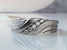 14k White Gold Men's 0.16ct Diamond Ring