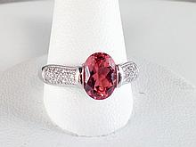 14k White Gold 1.85ct Rhodolite Garnet and Diamond Ring