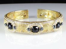 Judith Ripka 18k Yellow Gold Black Onyx and 1.92ct Diamond Cuff Bracelet