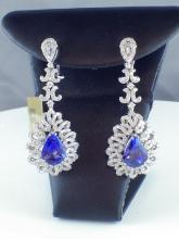 18k White Gold 7.73ct Tanzanite and 3.51ct Diamond Drop Earrings