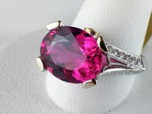 18k White Gold 3.83ct Bright Pink Tourmaline and Diamond Ring