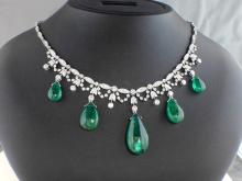 18k White Gold 28.24ct Polished Emerald Drops and Diamond Necklace