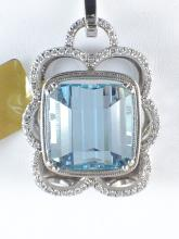 14k White Gold 20.37ct Aquamarine and Diamond Pendant (Chain not included)