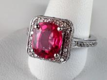 14k White Gold 2.06ct Bubblegum Pink Spinel and Diamond Ring