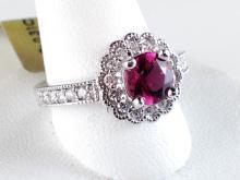 14k White Gold 0.92ct Pink Tourmaline and Diamond Halo Ring