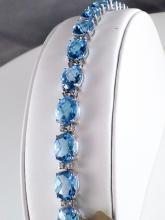 18k White Gold 41.76ct Oval Checkerboard Blue Topaz and Diamond Tennis Bracelet
