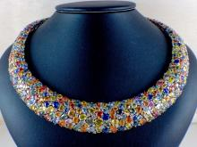 18k White Gold 132.90ct Multi-Colored Sapphire and 6.40ct Diamond Necklace