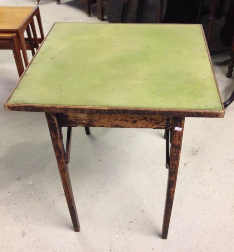 A vintage fold away baize topped card games table - Fold away table ...