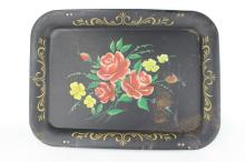 OLD HAND PAINTED METAL SERVING PLATE
