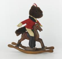 BLACK BEAR RIDE WOOD HORSE DOLL