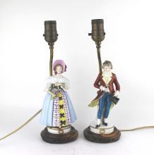 PAIR PORCELAIN FIGURINE TABLE LAMPS