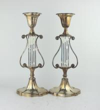 PAIR SILVER PLATED CANDLE HOLDERS