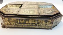CHINESE EXPORT GILT LACQUERED POKER GAME BOX