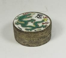 CHINESE SILVER POWDER BOX WITH ENAMEL TOP