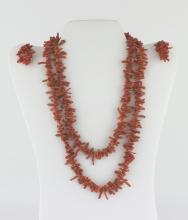 A SET Of CORAL NECKLACE AND EARNINGS