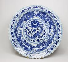 CHINESE BLUE AND WHITE DRAGON CHARGER