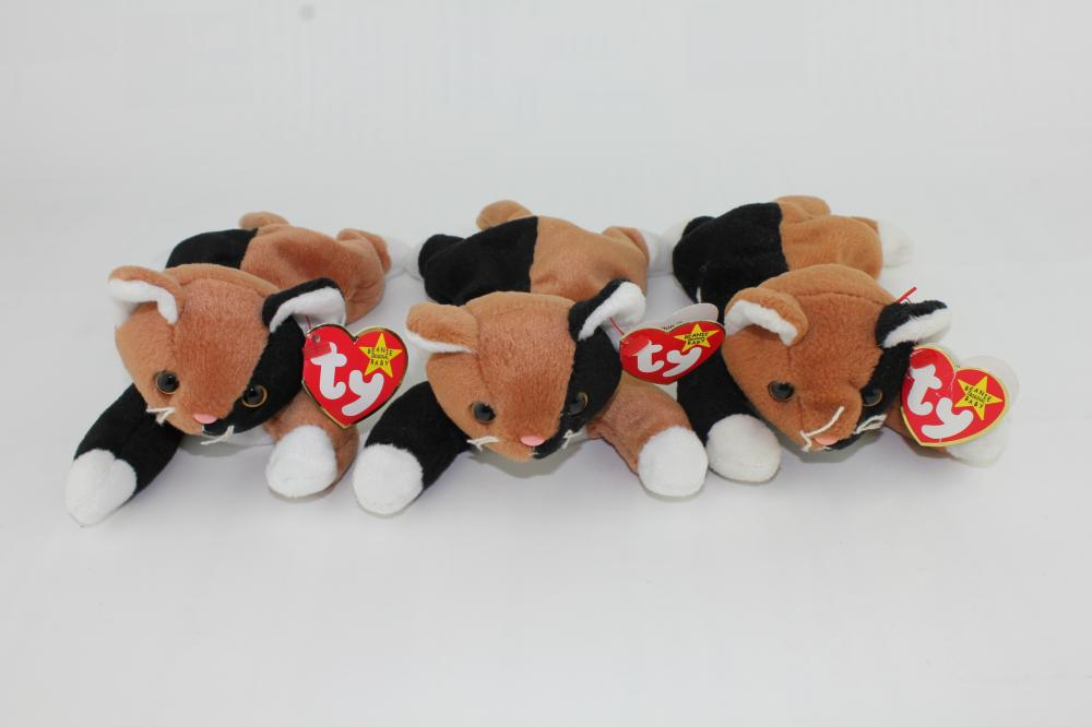 THREE FY BEANIE BABIES CHIP CATS WITH TAG ERRORS