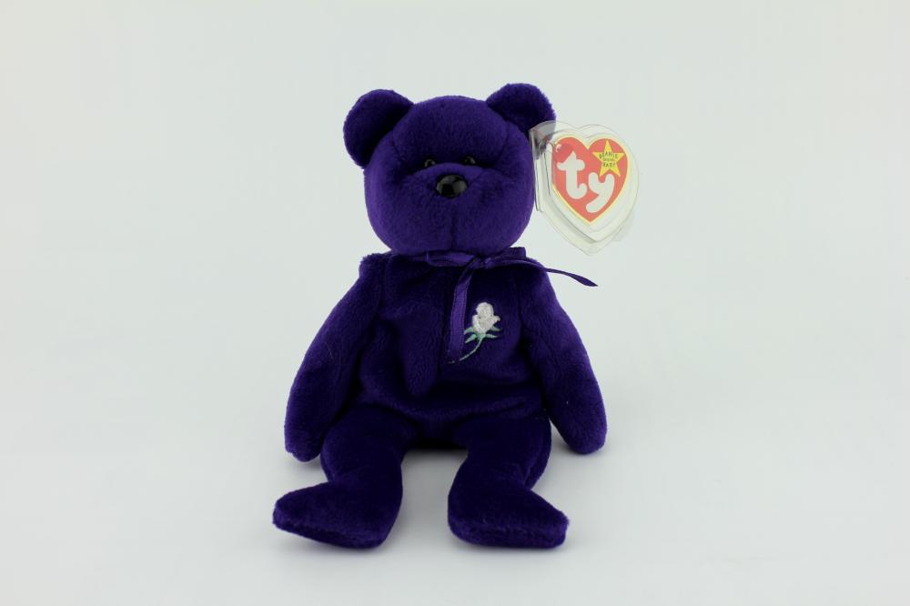 1a7187e4aaf TY PRINCESS DIANA BEANIE BABY PURPLE BEAR