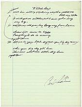 Carl Perkins Material Boy Handwritten Lyrics