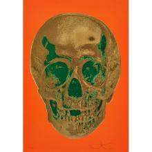 Damien Hirst, (British, b. 1965), Till Death Do Us Part - Time Bright Orange African Gold Emerald, 2012, color screenprint, glaze an...