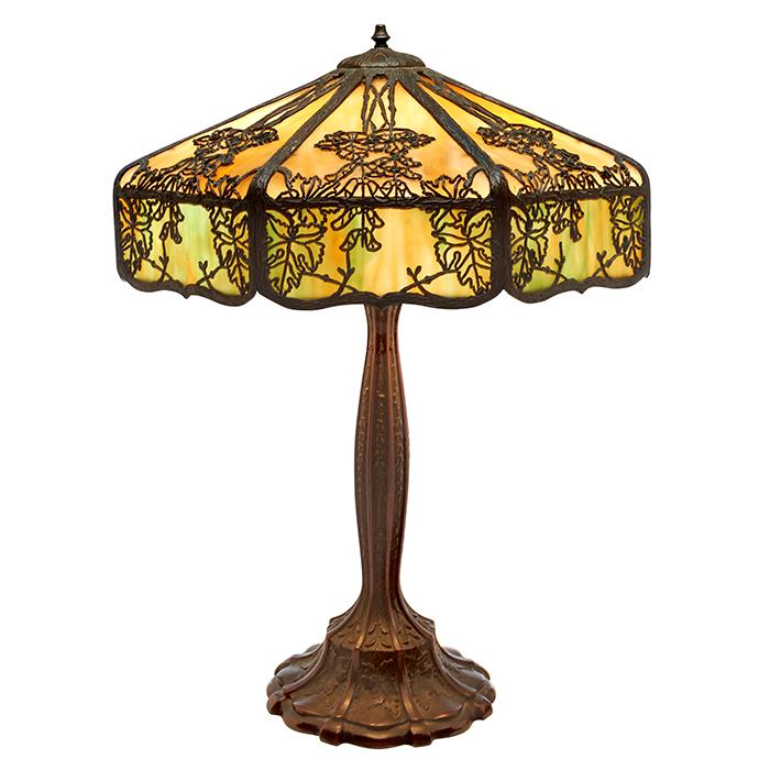 lot 25 arts and crafts overlay table lamp 18 dia x 25 5 h. Black Bedroom Furniture Sets. Home Design Ideas