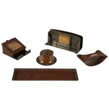 The Roycrofters assembled desk set, five pen tray: 10.5