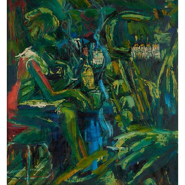 Wadsworth Jarrell, (American, b. 1929), Bar Scene, c. 1965, oil on canvas, 26.5