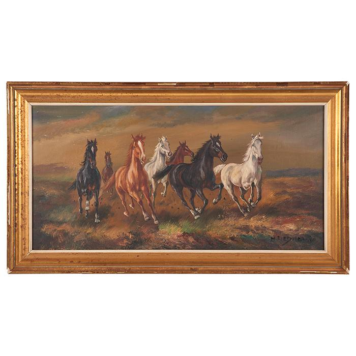 Hans Riedmann, (German, 20th century), Wild Horses, oil on canvas, 15