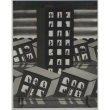 Roger Brown, (American, 1941-1997), Standing Around While All Are Sinking, 1977, etching and aquatint, 19 1/2
