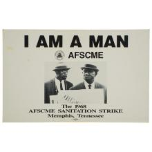 I Am a Man, AFSCME The 1968 Sanitation Strike, Memphis, Tennessee, 1978, black and white poster, 14