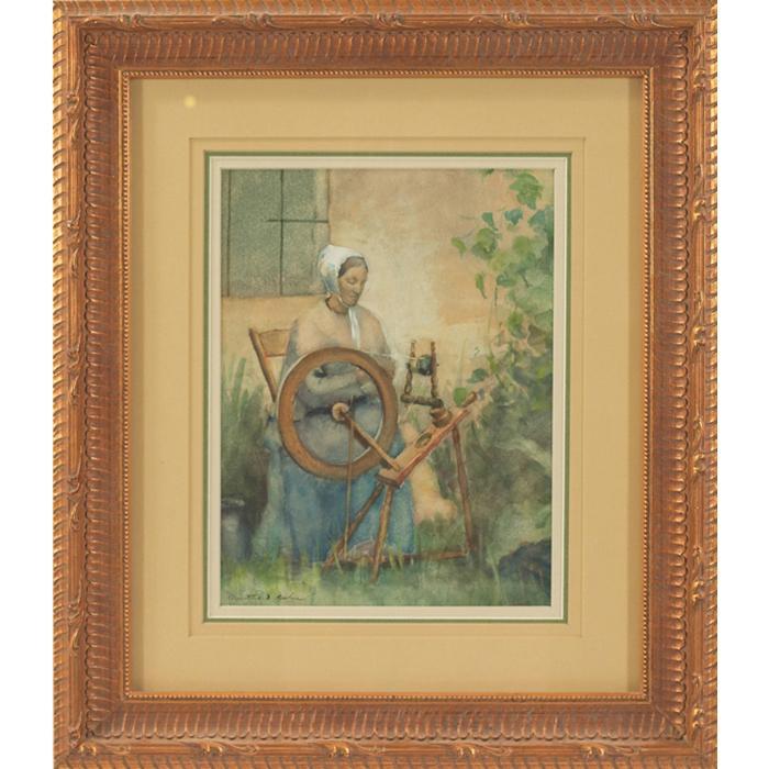 Martha Susan Baker, (American, 1871-1911), A Shady Corner c. 1900, watercolor, 10.25