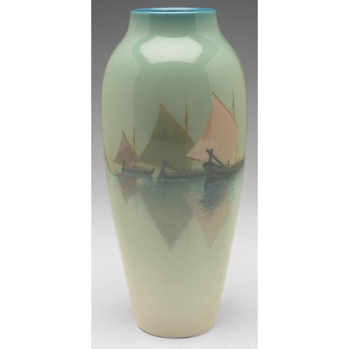 Charles (Carl) Schmidt (1875-1959) for Rookwood Pottery Venetian Harbor vase, #295D 4