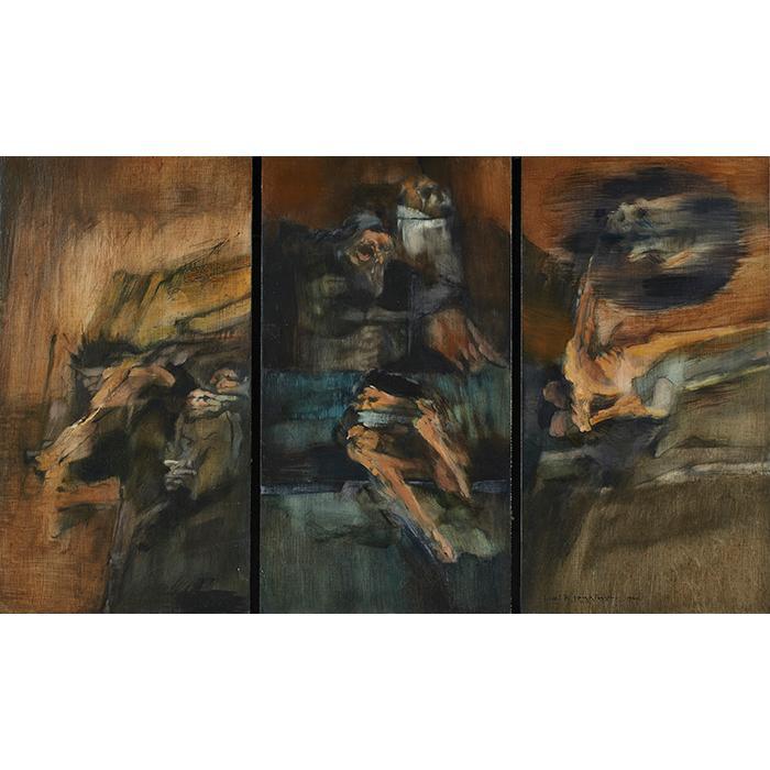Paul Ripley Jenkins, (American, 1904-1974), Study For Dies Irae, 1964 (triptych), acrylic on board, 14.5