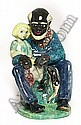 Edris Eckhardt sculpture, elderly African American male with a little girl sitting on his lap, incised signature and #9, probably W.P.A., 6