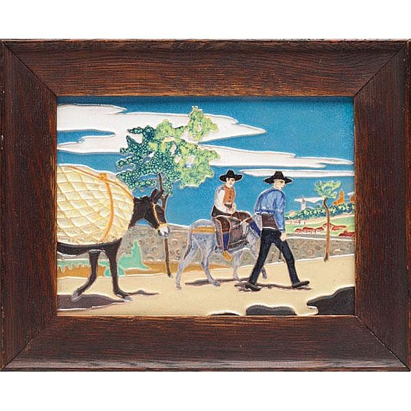 Daniel Zuloaca tile, colorful scene w/ Arts  &  Crafts frame, tile: