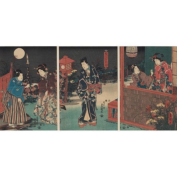 Utagawa Kunisada Japanese woodblock print, triptych