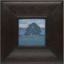 Marblehead Pottery Lone Oak Tree Landscape tile tile: 4.25