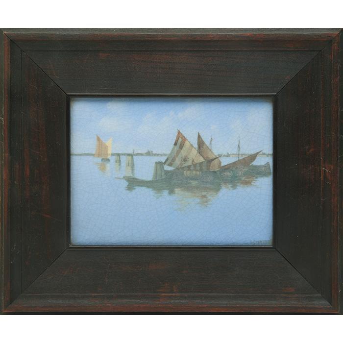 Charles (Carl) Schmidt (1875-1959) for Rookwood Pottery Harbor Scene plaque plaque: 7