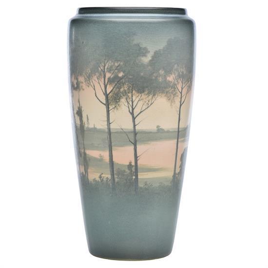 Kataro Shirayamadani (1865-1948) for Rookwood Pottery Landscape vase, #1369B 8