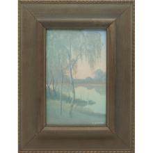 Charles (Carl) Schmidt (1875-1959) for Rookwood Pottery Birches at Twilight plaque plaque: 5